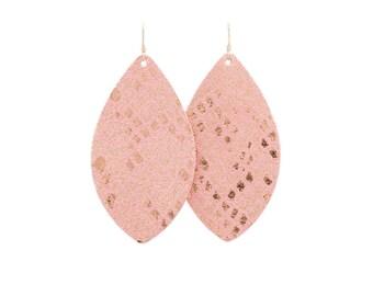 leather earrings, statement earrings, rose gold earrings, pink earrings, teardrop earrings, brinley and co, metallic earrings