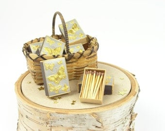 Vintage Wooden Matches, Match Boxes and Vintage Miniature Wicker Basket Set - Old Match Boxes Collectors -  Small Wicker Basket