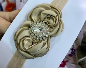 Khaki double flower headband with rhinestone, baby girl rosettes headbands.