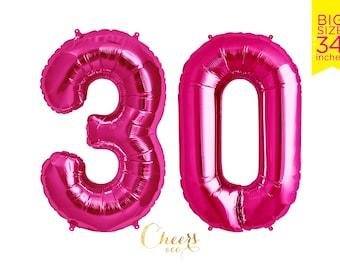 "34"" BIG 30 Pink Foil Number Balloon - birthday balloon - 30 balloon - 30th birthday - number balloon - party balloon - cheersnco"
