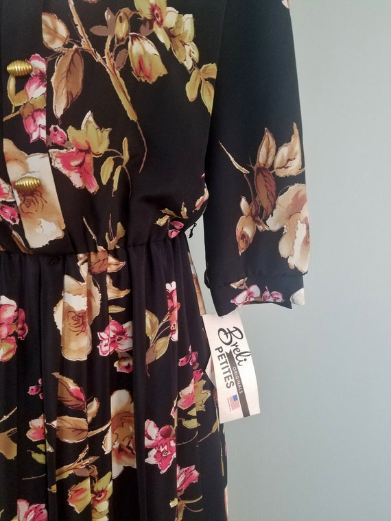 1970s does 1940s Day Dress / Retro Dark Floral Crepe / Deadstock, Vintage Midi with Sleeves / Modern Size Large L to Extra Large XL