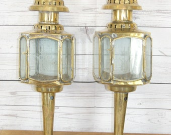 Pair of Brass, Reproduction Antique or Georgian Style Horse, Coach, Carriage or Buggy, Lamps or Lights