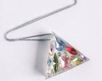 Resin Triangle Gemstone Necklace, Resin Triangle Pendant, Geometric Resin Necklace, Gemstone Necklace