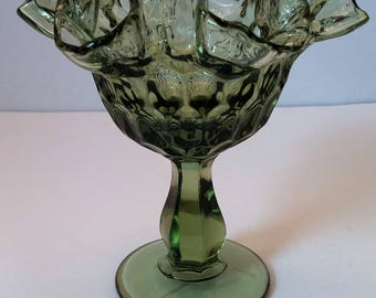 Fenton Colonial Green Thumbprint Ruffle Top Compote