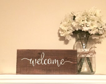 Welcome Sign, Wooden welcome sign, rustic wall decor, gallery wall decor, wood signs