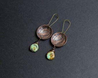 Copper earrings Turquoise earrings Ethnic earrings Folk jewelry Dangle earrings Ethnic jewelry Turquoise jewelry Lightweight earring Rustic