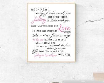 Fools rush in etsy cant help falling in love song lyrics by elvis digital download print stopboris Gallery