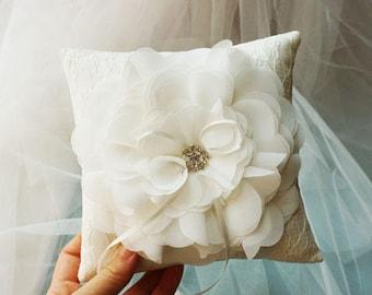 Flower Lace Wedding Pillow,  ivory Ring bearer Pillow, Beige Wedding Pillow, Lace Bearer pillow with brooch