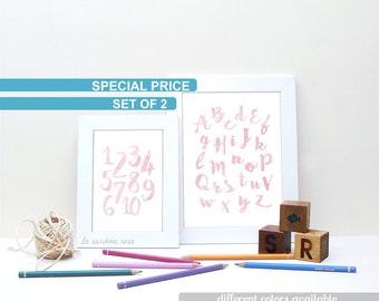 SALE Abc for kids, Alphabet poster, Pink nursery decor, Girl nursery printable, Watercolor alphabet, Cursive abc letters, Nursery wall art