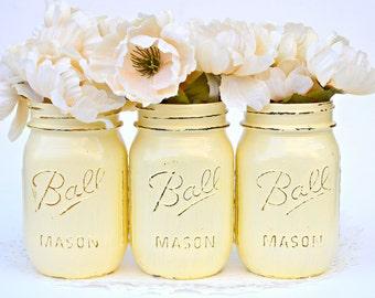 Glossy Mason Jars, Yellow Decor, Baby Shower Decor, Mason Jars Bulk, Painted Mason Jars, Yellow Mason Jars, Dorm Decor, Wedding Decor, Jars