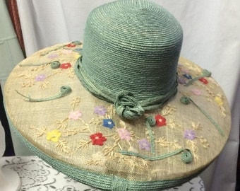 1980s Memar Italy Hand Embroidered Straw Hat with Wide Brim and Flowers. Polo, Derby Elegant, Brunch, Tea Parties, Cruise