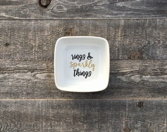Rings and Sparkly Things // Square Ring Dish // Ring Holder // Jewelry Dish
