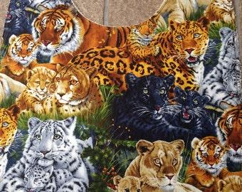 Adult Bib, Tigers, Lions, Big Kitties, Clothes Shirt Protector Saver Dignity Wear, Women Special Needs Elderly Nursing Home