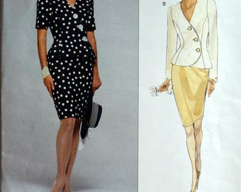 1990s Vogue Vintage Sewing Pattern 2683; Size 6-8-10; Albert Nipon Misses' Top and Skirt