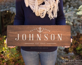 Personalized Wood Sign with Last Name and Established Date, Housewarming Gift, Wedding Gift, Custom Wood Sign, Personalized Gift (GP1022)