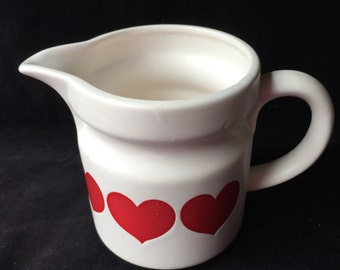 Relpo White with Red Hearts Pitcher