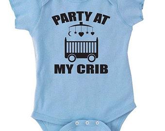 Party At My Crib Baby Onesie One-Piece Bodysuit