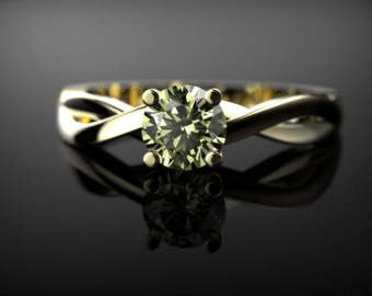 Yellow Gold Peridot Ring Yellow Gold Peridot Engagement Ring Peridot Engagement Ring Gemstone Ring Peridot Ring August Birthstone Ring
