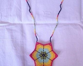 Huichol peyote mandala beaded necklace