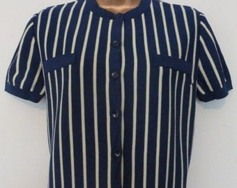 Vintage 1960s Northern Soul Short Sleeve Navy Top, 12/14