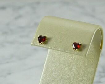 14 K Gold Heart Cut Garnet Stud Earrings (pierced)
