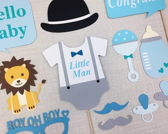 Little Man Baby Shower / Boy Babyshower Props / Boy Oh Boy / Baby Shower Photobooth Props / SALE / FULLY ASSEMBLED / 12 Pc