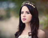 Gold leaves tiara Fall Crystal bridal crown Gold wedding head piece Fairy Princess crown Gold Leaf Headband Greek Goddess