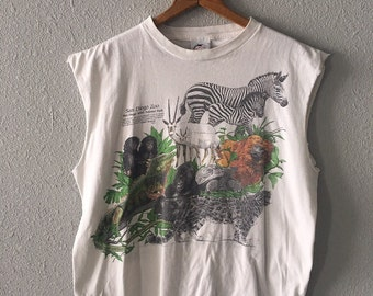 1987 San Diego Zoo Vintage San Diego 1980's Animal Graphic San Diego Zoo Wild Animal Park Muscle T Shirt