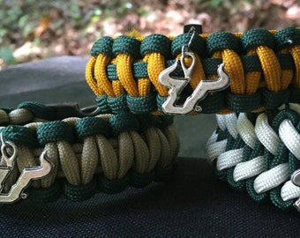 USF Bulls Paracord Bracelet, USF Bulls, antigue silver metal logo charm, whistle buckle