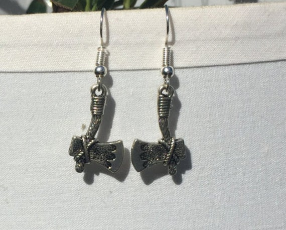 Tomahawk Hatchet Antique Silver Earrings, 2 to choose from, both 3D