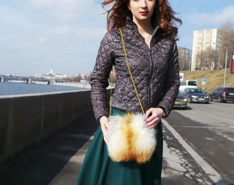 Shoulder bag, fox fur bag
