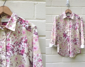 Vintage button-up shirt / pink floral suede / small medium