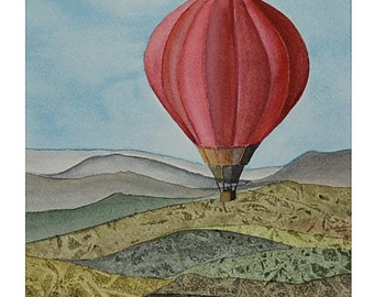 Hot Air Balloons Original Watercolour One of a Kind Home Décor Aquarelle Tuscany Red Balloon made in Italy housewarming gift for Her and Him