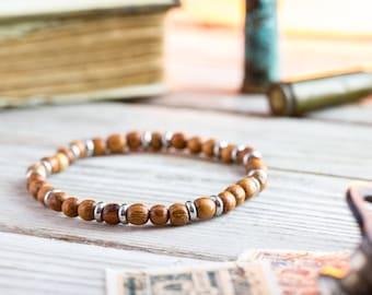 5mm - Sandalwood beaded stretchy bracelet with stainless steel rings, made to order yoga bracelet, mens bracelet, beaded bracelet, casual