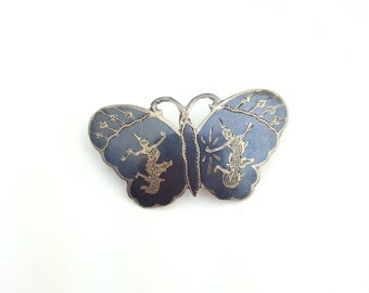 Vintage Sterling Silver and Black Enamel Siam Thailand Butterfly Pendant Pin