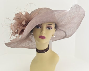 High Quality NEW Kentucky Derby, Church, Wedding, Tea Party Sinamay Feather Flower Wide Brim Dress Hat 508 ( Taupe )