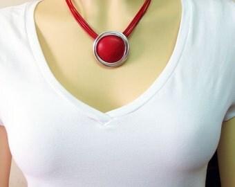 Statement Jewelry Necklace, Statement Jewelry Pendant, Red Statement Jewelry, Red Statement Pendant, Unique Stone Jewelry Necklace Pendant