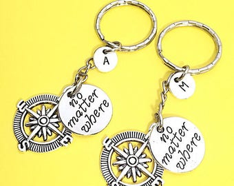 2 BFF Keychains, Best Friend Distance Gift,BFF Charm, No Matter Where,Personalized, Initial, Friendship Jewelry, Gift BFF, Long Distance Bff