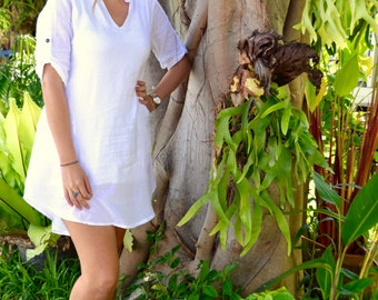 Plus Size White Dress| Bamboo Cotton Dress | Light Dress| Summer Dress| White Bamboo Cotton Dress| Light Weight Dress | Easy Wear Dress