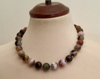 jewellery set necklace and bracelet/brown agate/semi precious stones/one of a kind/beautiful gift for a loved one