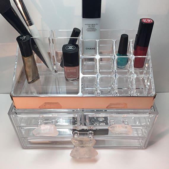 Makeup Organizer, Rose Gold, Lucite, Vanity Organizer, Crystal Drawer Knobs,Luxury Stackable Acrylic Storage | Desk Caddy, Bathroom Storage