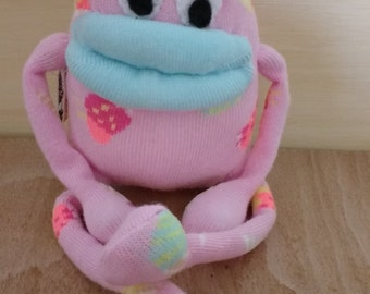 Sock oddity * sock monster * sock monkey * cute * ice cream * art doll  * doll * pink