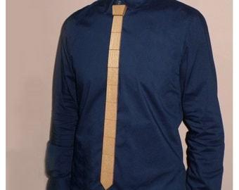 Wooden Necktie-Double sided-Dublefash-Walnut and Βeech color-HANDMADE-Wood tie-Wooden accessories-Slim modern tie