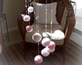 Pom Pom Baby Mobile, Pom Pom Mobile, PomPoms, Baby Mobile, Pink Baby Mobile, Nursery Decoration for a Girl, Baby Shower Gift Girl, Baby Girl