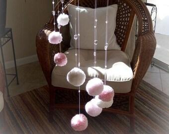 Pom Pom Spiral Mobile, Pom Pom Baby Mobile, Baby Mobile, Pink Baby Mobile, Nursery Decoration for a Girl, Baby Shower Gift Girl, Baby Girl