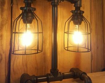 rustic industrial lamp table lamp pipe light modern industrial desk lamp farm