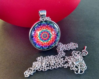 Glass Pendant, Psychedelic, Mandala, Flower Abstract art, Necklace, Bohemian Jewelry