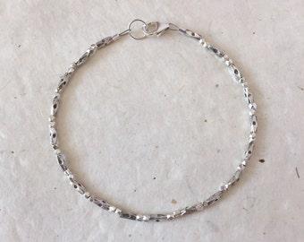 Dainty Stamped Karen Hill Tribe Thai Silver Beaded Bracelet, Sundance Style, Gifts For Her, Birthday Gift, Layering Bracelet, Boho Chic