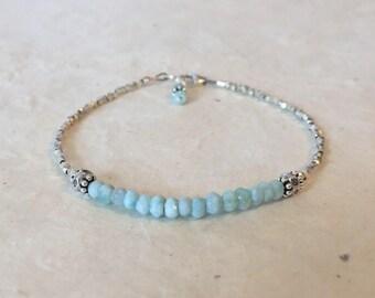 Larimar Karen Hill Tribe Thai Silver Beaded Bracelet, Sundance Style, Boho Stacking Bracelet, Birthday Gift, Gifts for Her Layering Bracelet