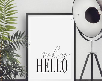Why Hello Poster, Why Hello Print, Printable Poster, Instant download, Text Poster, 50x70cm, 8x10in
